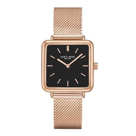 East Village Women's Rose Gold / Black Grand Rectangular Bracelet Watch