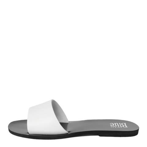 Bluetag White Leather Flat Slider Sandals
