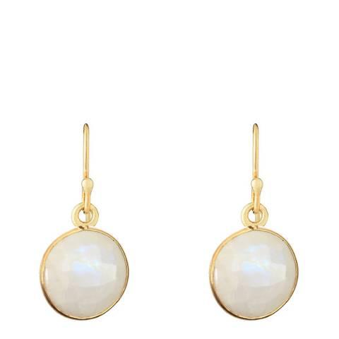 Liv Oliver 18K Gold Plated / White Moonstone Disc Earrings
