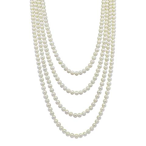 Liv Oliver White Endless Long Pearl Necklace