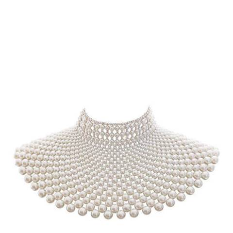 Liv Oliver White Multi Pearl Bib Statement Necklace