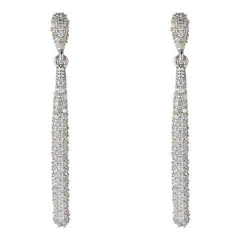 Liv Oliver Sterling Silver Pave Cubic Zirconia Drop Earrings