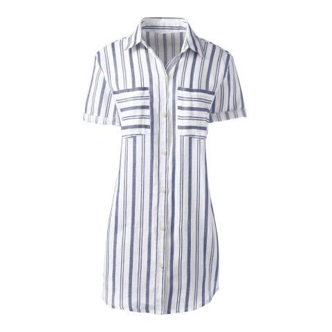 Lands End Pale Sky Floral Regular Short Sleeve Patterned Linen Shirt