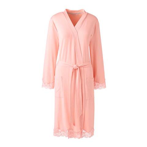 Lands End Pale Peach Supersoft Lace Trim Dressing Gown