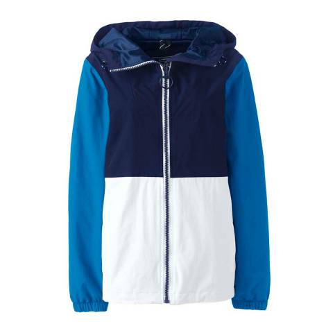 Lands End Deep Sea/White Colourblock Squall Lightweight Jacket