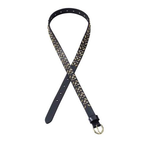 Lands End Black Embellished Leather Belt