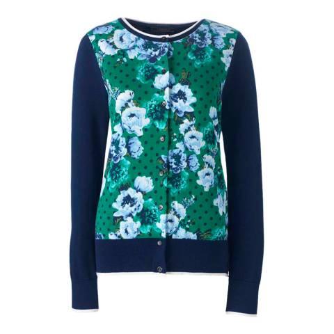 Lands End Lush Tropic Green Dot Floral Fine Gauge Supima Patterned Cardigan