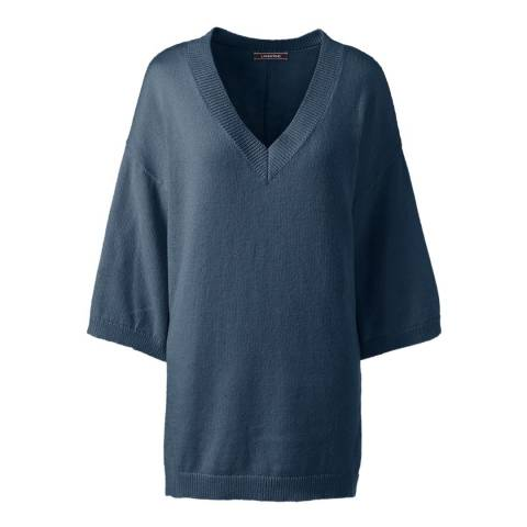Lands End Radiant Navy Eco-friendly Drop Hem V-neck Jumper