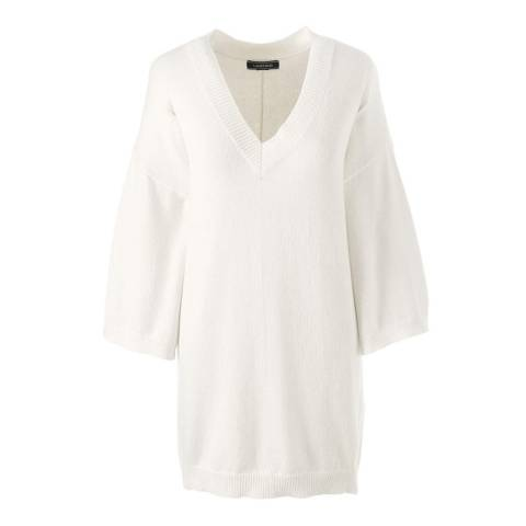 Lands End Ivory Eco-friendly Drop Hem V-neck Jumper