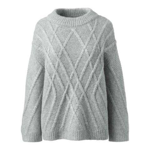 Lands End Soft Platinum Heather Textured Wool Blend Jumper