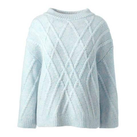 Lands End Pearl Blue Heather Textured Wool Blend Jumper