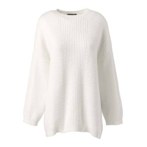 Lands End Ivory 3-quarter Shaker Crew Neck Jumper