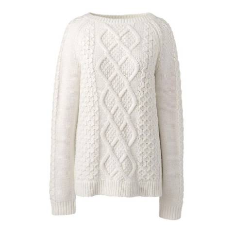 Lands End Ivory Long Sleeve Aran Boatneck Jumper