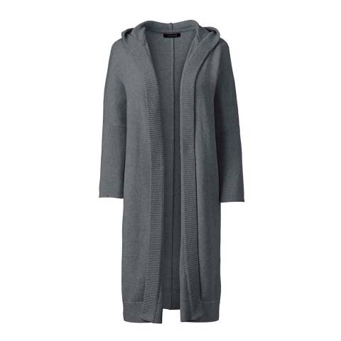 Lands End Charcoal Heather Soft Leisure Hooded Cardigan