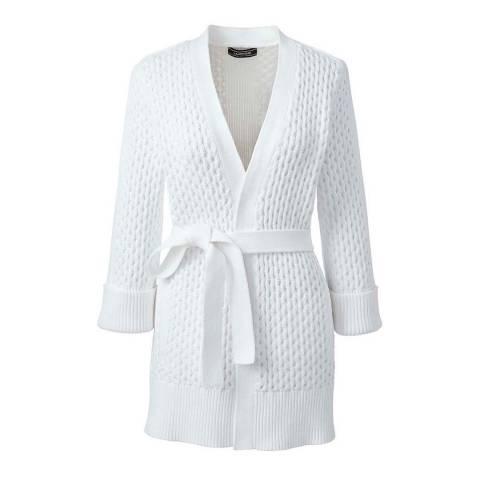 Lands End White Textured Tie-waist Cardigan