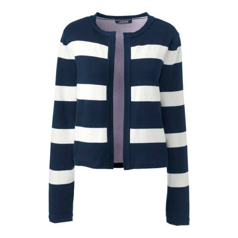 Lands End Radiant Navy Stripe Supima Cotton Reversible Cardigan