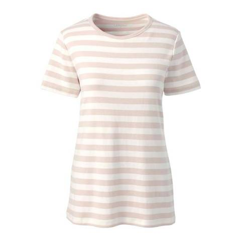 Lands End Light Bisque Stripe  Cotton Rib Crew Neck T-shirt