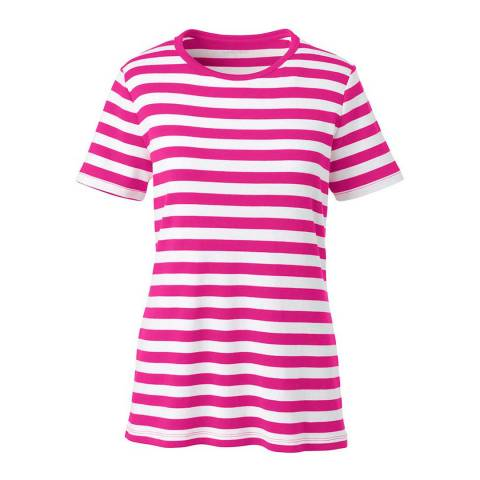 Lands End Fuchsia Blossom Stripe  Cotton Rib Crew Neck T-shirt