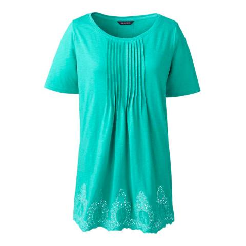 Lands End Aqua Green Regular Embroidered Slub Jersey Tunic