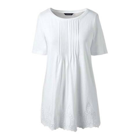 Lands End White Regular Embroidered Slub Jersey Tunic