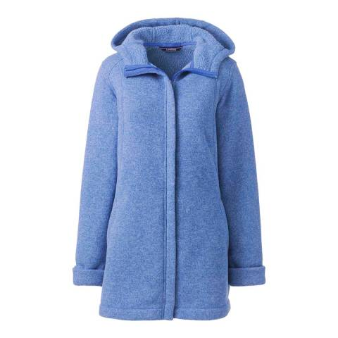 Lands End True Blue Heather Sweater Fleece Longline Jacket