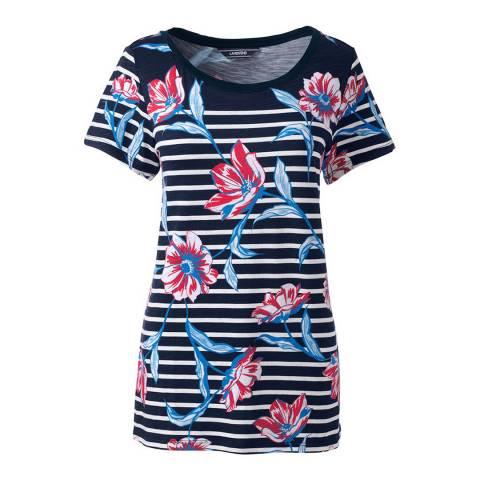 Lands End Radiant Navy Floral Stripe Slub Jersey Print T-shirt
