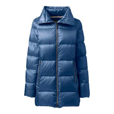 Lands End Twilight Blue Lightweight Down A-line Coat