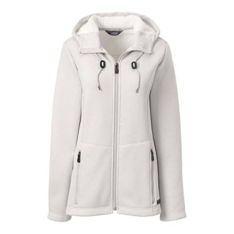 Lands End Ivory Heather Hooded Fleece-lined Jacket