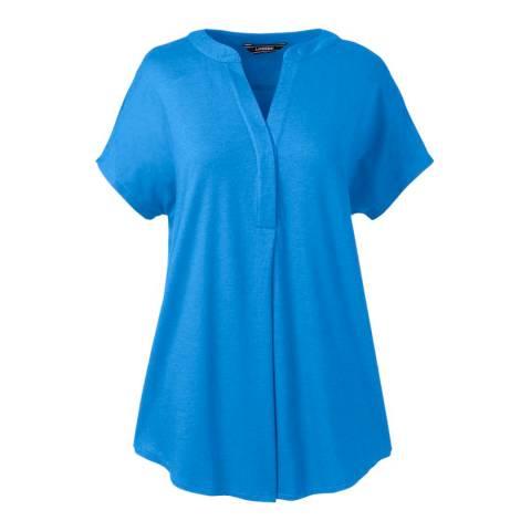 Lands End Bright Boreal Blue Regular Slub Jersey Dolman Sleeve Top