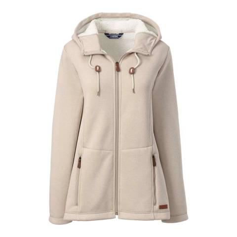 Lands End Oatmeal Heather/Ivory Hooded Fleece-lined Jacket