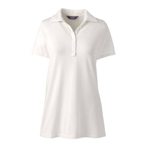 Lands End Ivory Cotton/Modal Polo Tunic