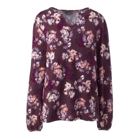 Lands End Aged Wine Heather Floral Notch-neck Printed Top