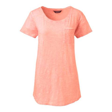 Lands End Pink Flamingo Cotton Jersey Pocket T-shirt