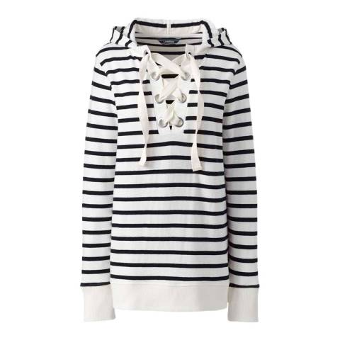 Lands End Dark Charcoal Thin Stripe Lace-up Jersey Hoodie