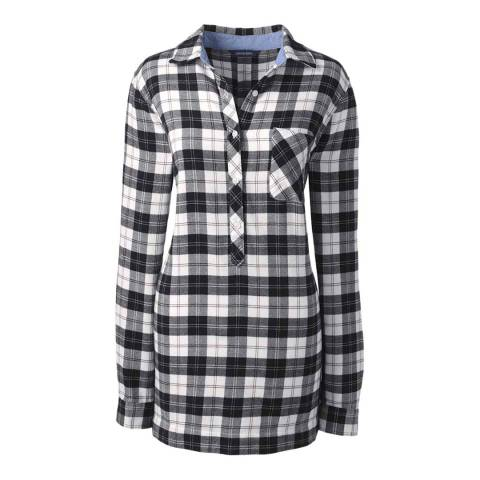 Lands End Ivory/Black Plaid Regular Flannel Chambray Trim Tunic