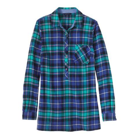 Lands End Regular Flannel Chambray Trim Tunic