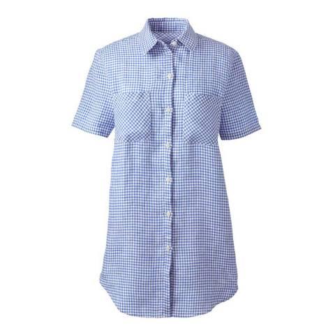 Lands End Blue Star Gingham Regular Short Sleeve Patterned Linen Shirt