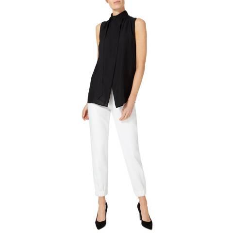 Amanda Wakeley Black Curve Satinised Silk Georgette Top