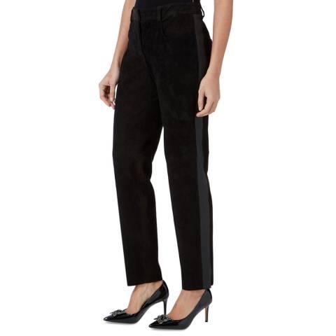 Amanda Wakeley Black Stripe Suede Stretch Jeans
