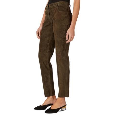 Amanda Wakeley Dark Green Sun Suede Leather Jeans
