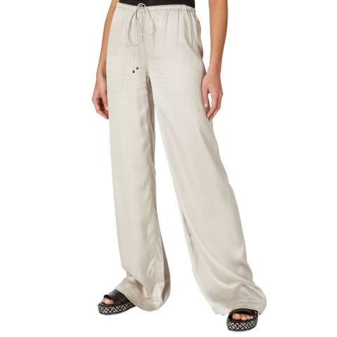 Amanda Wakeley Beige Techno Pearl Satin Trousers