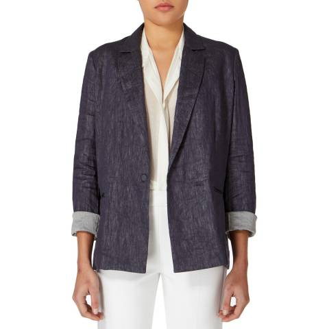 Amanda Wakeley Denim Blue Echo Crinkle Jacket