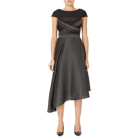 Amanda Wakeley Dark Grey Expression Metallic Weave Dress