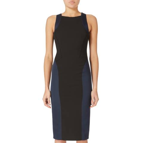 Amanda Wakeley Black/Navy Flash Cut Out Satin Dress