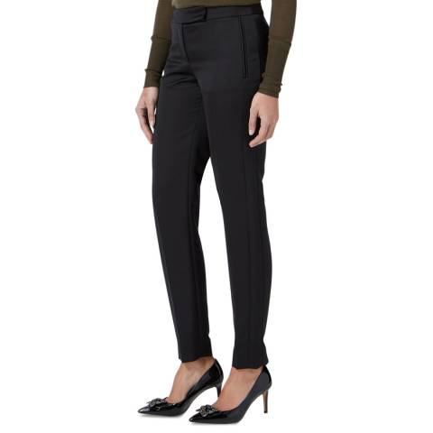 Amanda Wakeley Black Flash Sculpted Satin Back Trousers