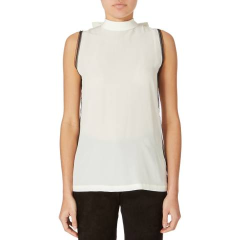 Amanda Wakeley Off White Flute Silk Top