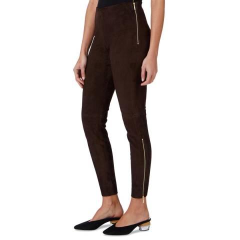 Amanda Wakeley Cocoa Tovar Skinny Suede Stretch Leggings