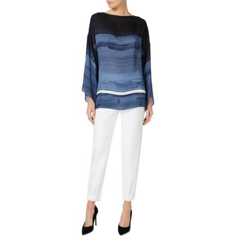 Amanda Wakeley Blue Multi Painterly Brushstroke Printed Satinised Georgette Top