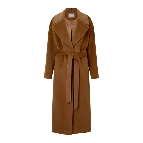 Grace & Oliver Camel Virgin Wool Eden Belted Maxi Coat