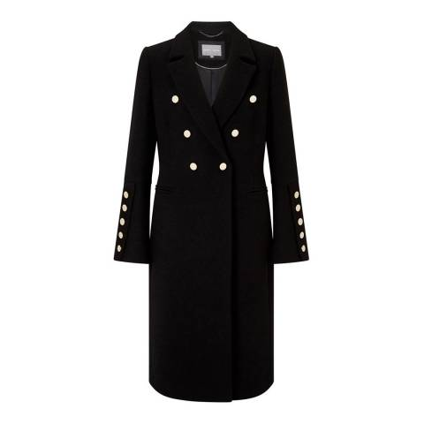 Grace & Oliver Black Wool and Cashmere Blend Layla Tailored Button Coat